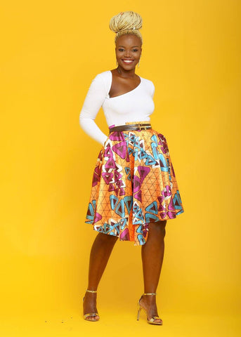 Thema African Print Satin Asymmetric Wrap Circle Skirt (Orange Triangles)