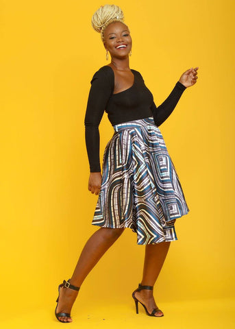 Thema African Print Satin Asymmetric Wrap Circle Skirt (purple/blue Swirls)- Clearance