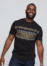 Abio African Print Men's Color Block Tee (Black/ Black Gold Mudcloth)