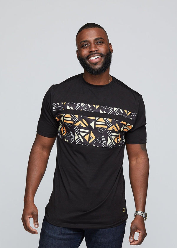 Abio African Print Men's Color Block Tee (Black/ Orange Cream Geometric) - Clearance