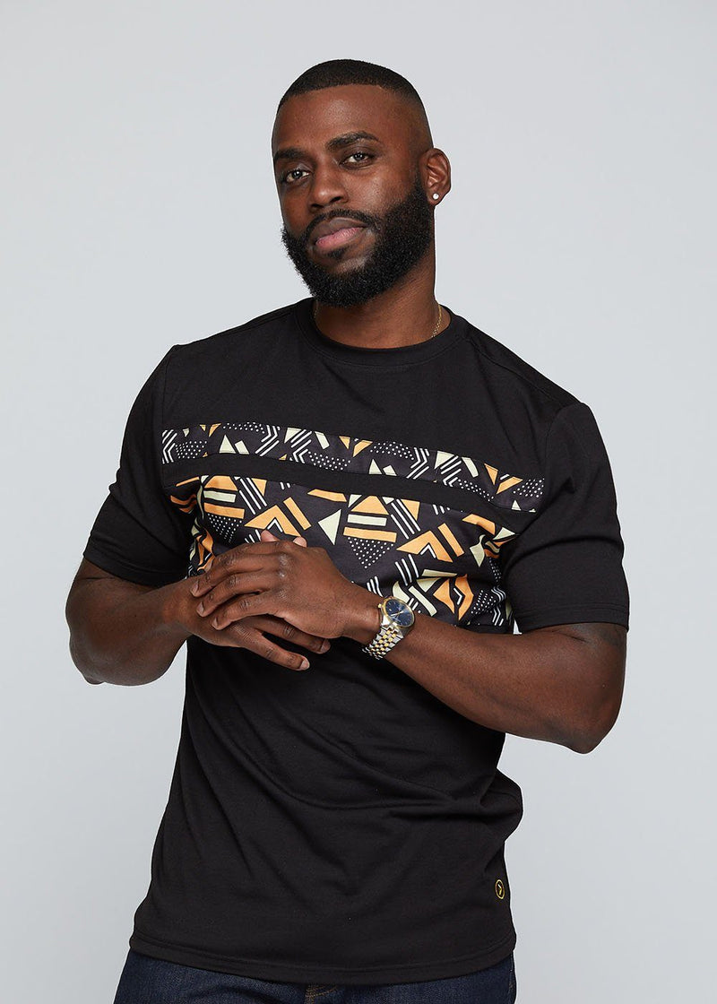 Abio African Print Men's Color Block Tee (Black/ Orange Cream Geometric)