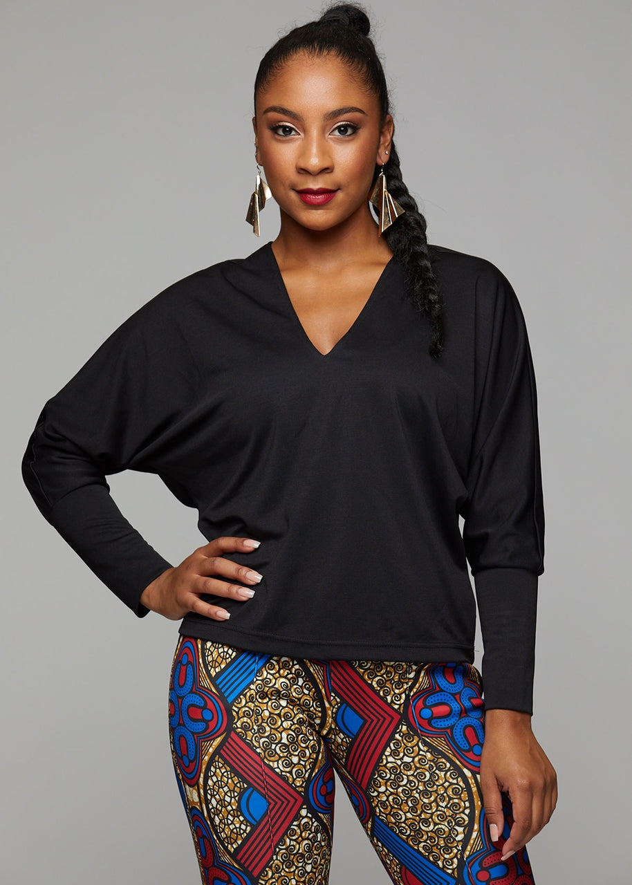 Tops - Adama African Print Batwing Sweater (Black)
