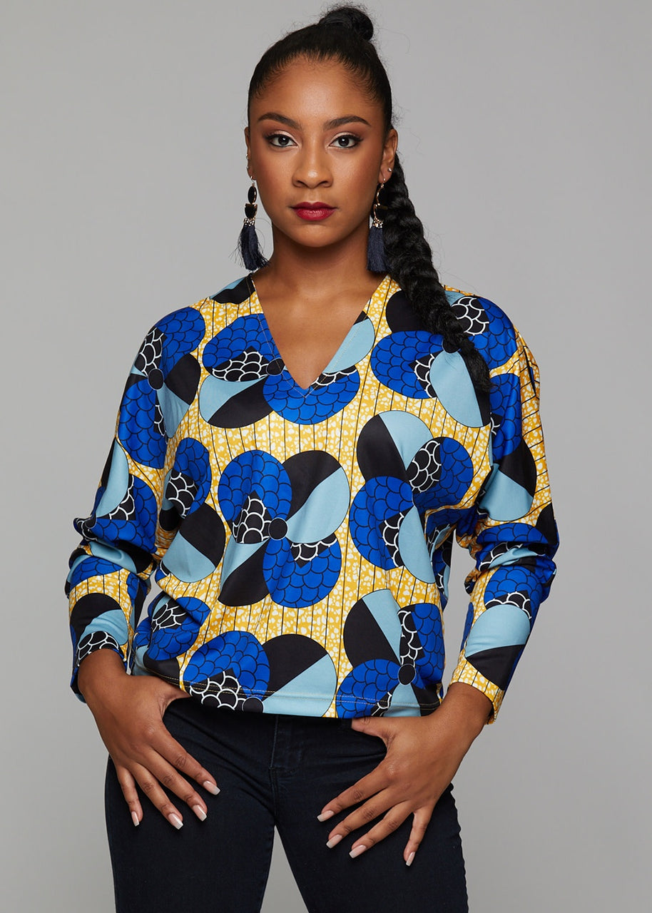 Tops - Adama African Print Batwing Sweater (Blue Bubbles On Yellow)