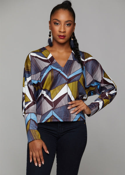 Tops - Adama African Print Batwing Sweater (Yellow/Blue Geometric)