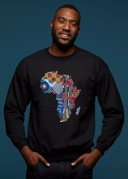 Tops - Aju Men's Africa Graphic Sweatshirt (Black)