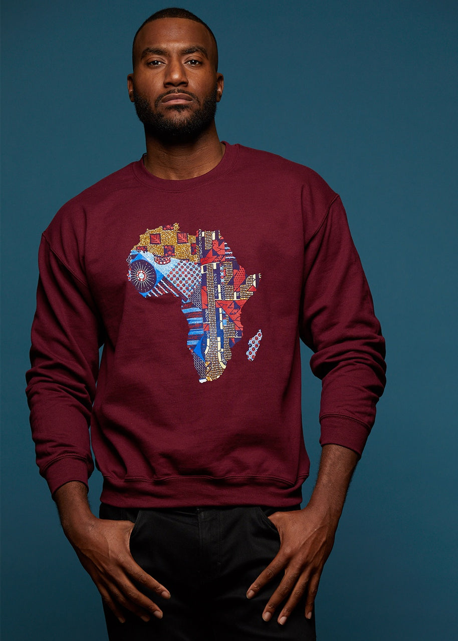 Tops - Aju Men's Africa Graphic Sweatshirt (Maroon)