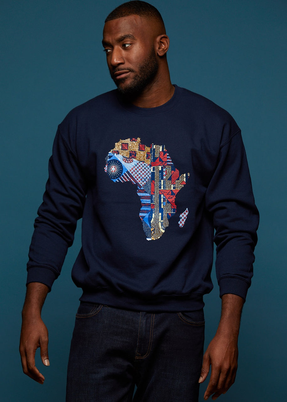 Tops - Aju Men's Africa Graphic Sweatshirt (Navy)