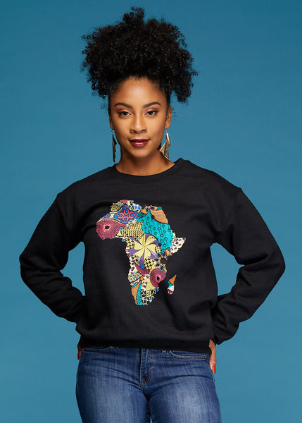 Tops - Akia Women's Africa Sweatshirt (Black)