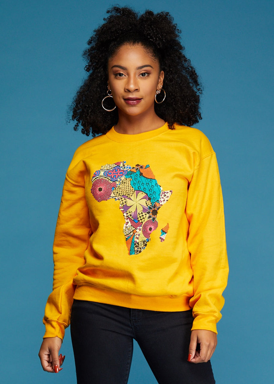 Tops - Akia Women's Africa Sweatshirt (Gold)