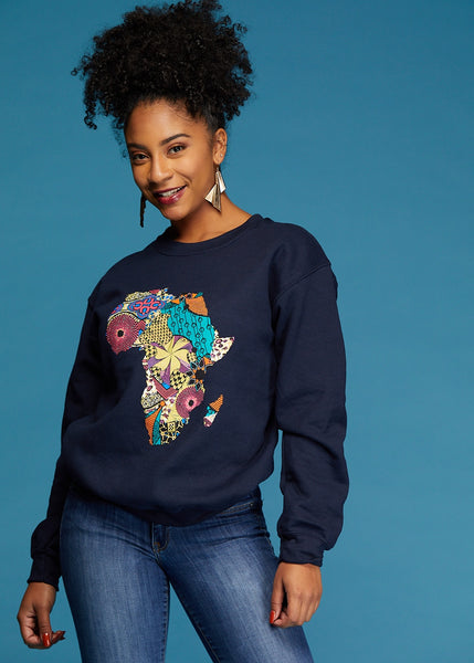 Tops - Akia Women's Africa Sweatshirt (Navy)
