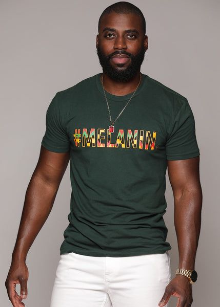 Tops - Akono Men's Melanin African Print T-Shirt (Forest Green/Yellow/Black Kente)