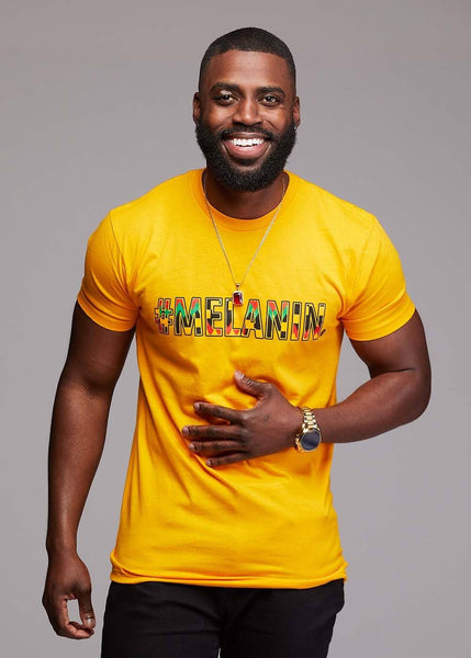 Tops - Akono Men's Melanin African Print T-Shirt (Gold/Yellow/Black Kente)