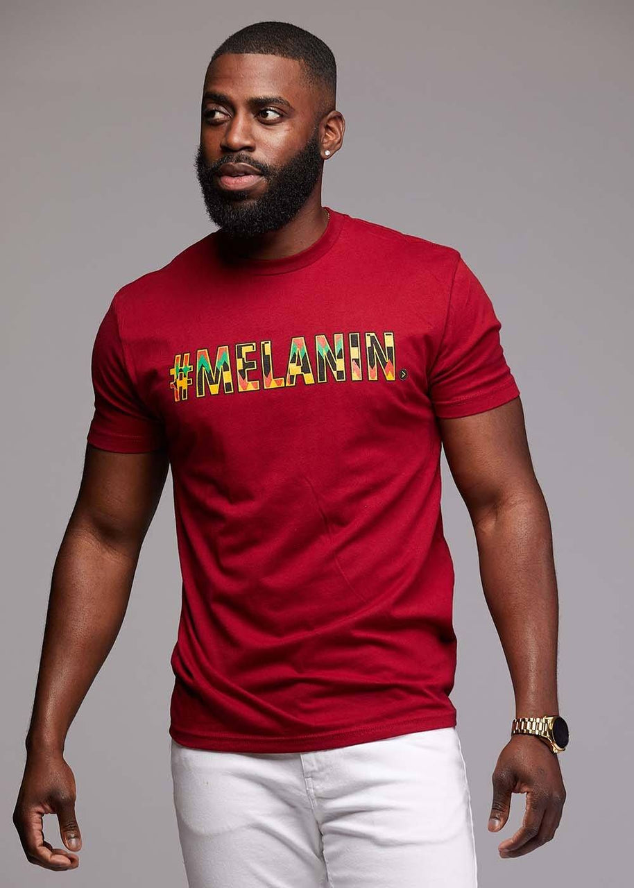 Tops - Akono Men's Melanin African Print T-Shirt (Maroon/Yellow/Black Kente)