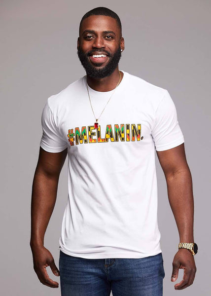 Tops - Akono Men's Melanin African Print T-Shirt (White/Yellow/Black Kente)