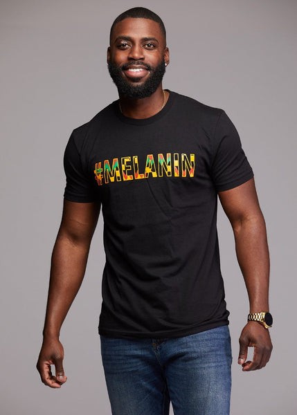 Tops - Akono Men's Melanin African Print T-Shirt (Yellow/Black Kente)