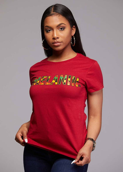 Tops - Amma Women's Melanin African Print T-Shirt (Maroon/Yellow/Black Kente)