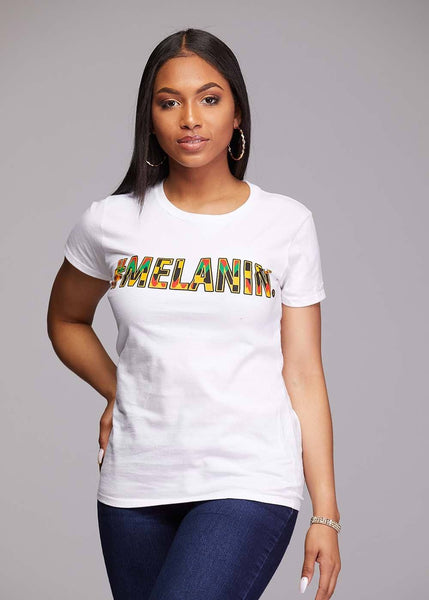 Tops - Amma Women's Melanin African Print T-Shirt (White/Yellow/Black Kente)