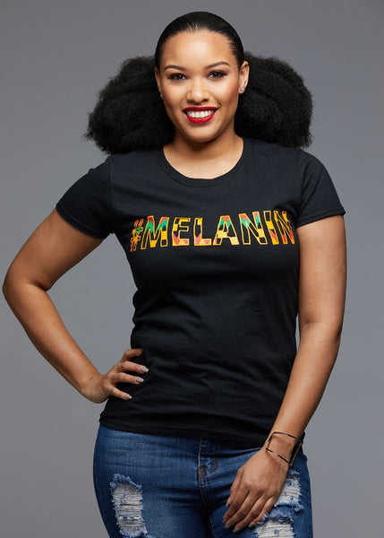 Tops - Amma Women's Melanin African Print T-Shirt (Yellow/Black Kente)