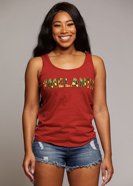 Tops - Asha Women's Melanin African Print Tank Top (Maroon/Yellow/Black Kente)