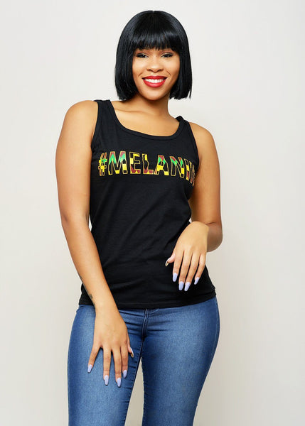 Tops - Asha Women's Melanin African Print Tank Top (Yellow/Black Kente)