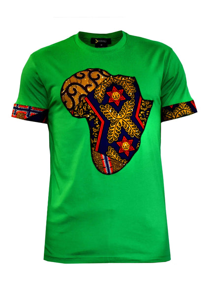 Tops - Bayo Men's Africa T-Shirt (Green/Multipattern)