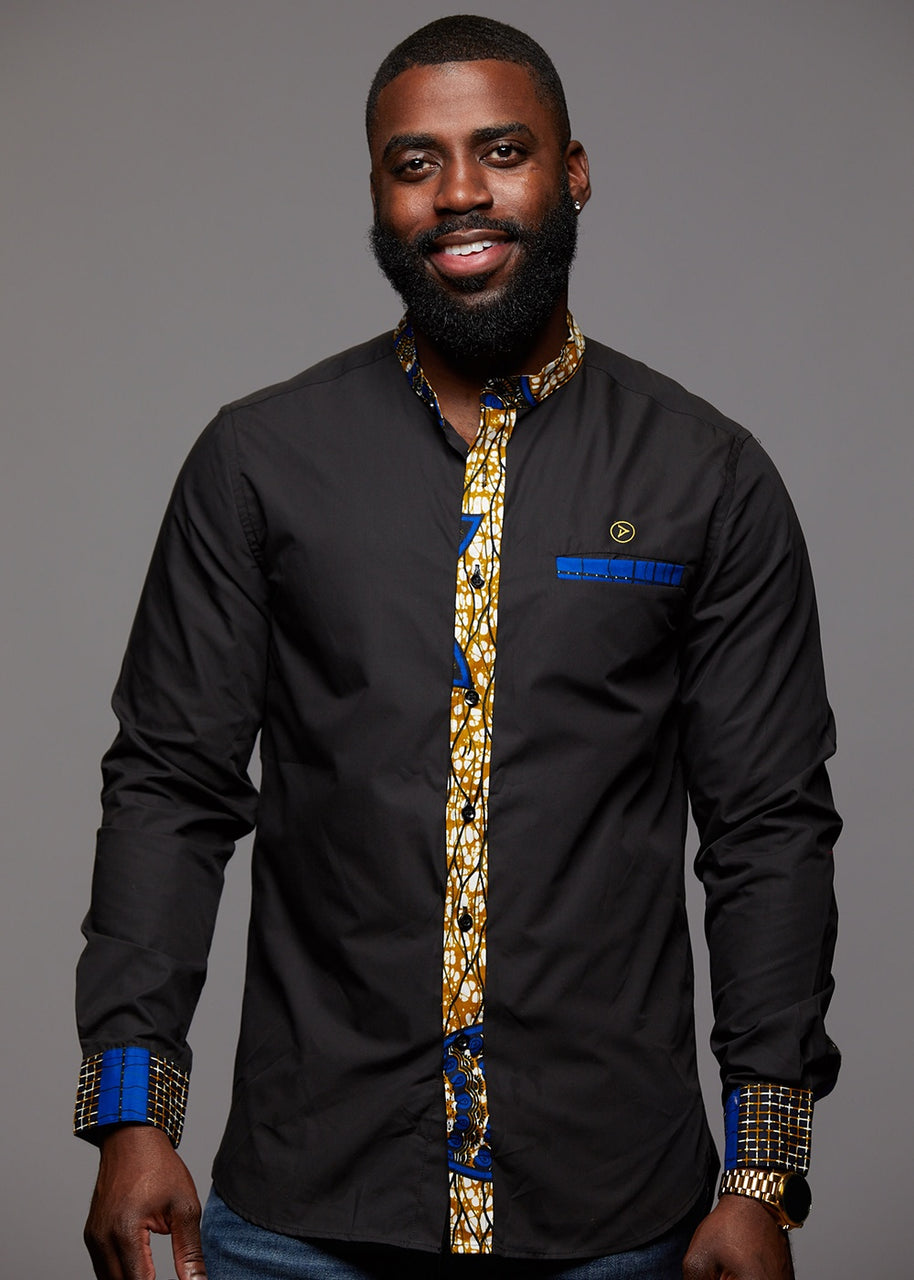 Tops - Bello Button-Up African Print Long Sleeve Mandarin Shirt (Black/Blue Gold Patchwork)