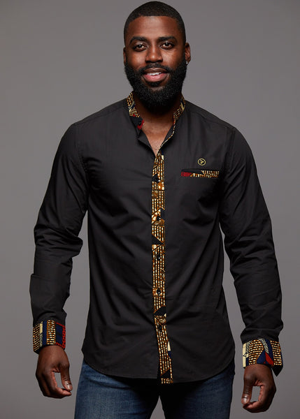 Tops - Bello Men's African Print Long Sleeve Mandarin Shirt (Black/Red Navy Stripe)