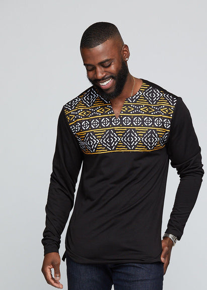 Tops - Bomani Men's African Print Long Sleeve V-neck Tee (Black/ Black Gold Mudcloth)
