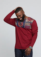 Bomani Men's African Print Long Sleeve V-neck Tee (Maroon/ Navy Burgundy Tiles)