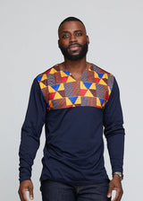 Bomani Men's African Print Long Sleeve V-neck Tee (Navy/ Gold Red Kente) - Clearance