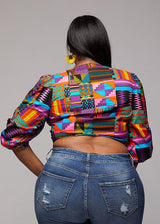 Tops - Bunmi Women's African Print Tie Front Crop Top (Purple Pink Kente)