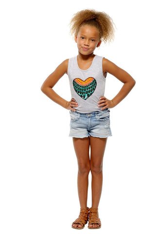 Tops - Chinara Girl's African Print Heart Tank Top (Aqua Circles/Grey)