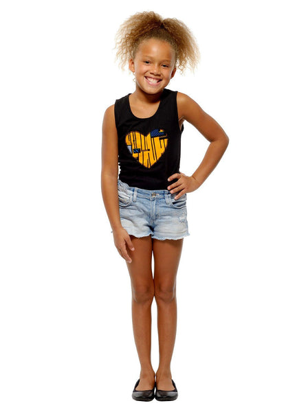Tops - Chinara Girl's African Print Heart Tank Top (Yellow/Blue/Black)