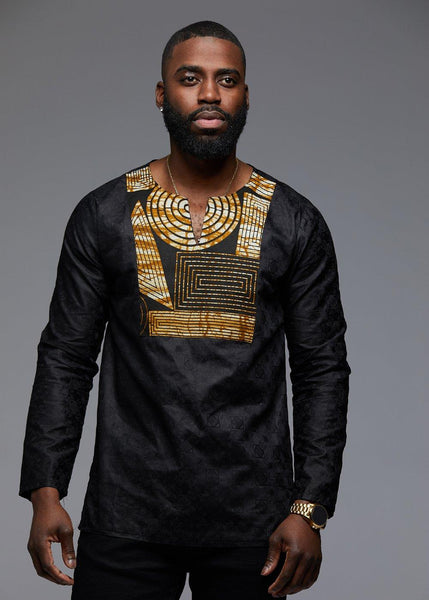 Tops - Dakari Men's African Print Long Sleeve Trad Shirt (Black Brown Geometric/Black)