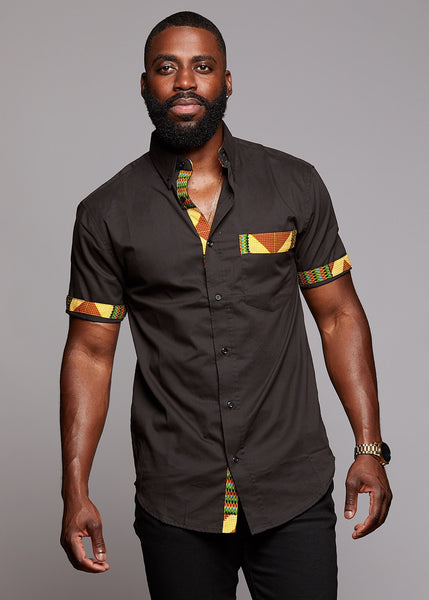 Tops - Dami Button-Up African Print Trim Shirt (Yellow/Green/Copper)