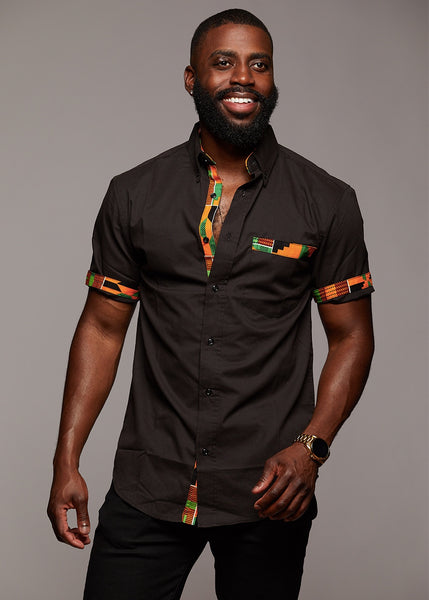 Tops - Dami Button-Up African Print Trim Shirt (Yellow Green Kente/Black)