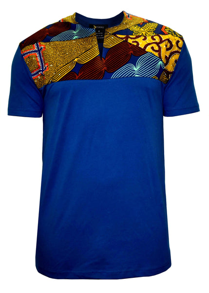 Tops - Dayo Men's African Print T-Shirt (Multipattern/Blue)