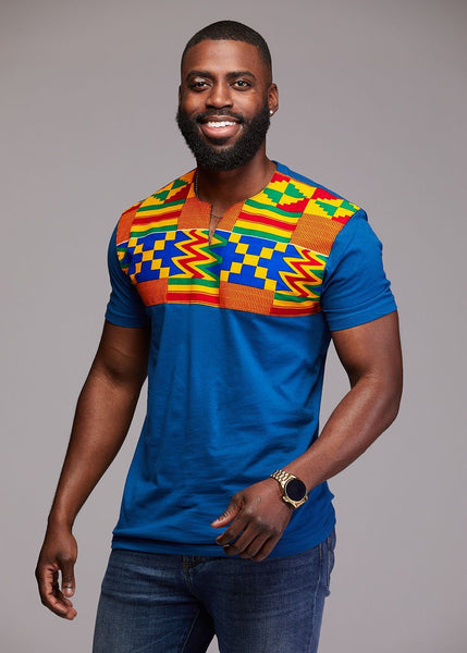 Tops - Dayo Men's African Print T-Shirt (Orange/Blue Kente)