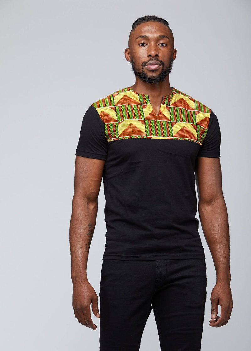 Tops - Dayo Men's African Print T-Shirt (Yellow/Green/Copper)