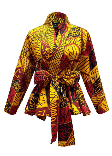 Tops - Diola African Print Blazer Peplum (Red/Yellow)