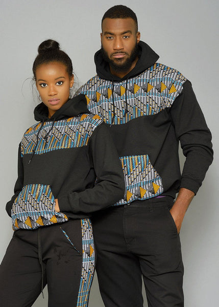 Tops - Folami Unisex African Print Hooded Sweatshirt (Blue/Orange Triangles)