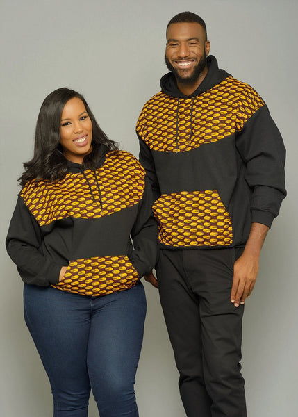 Tops - Folami Unisex African Print Hooded Sweatshirt (Gold Shells)