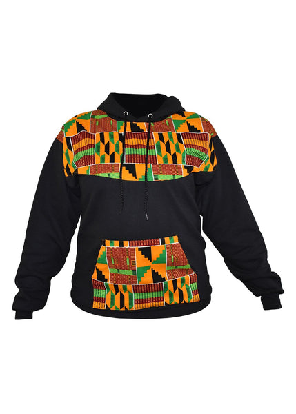 Tops - Folami Unisex African Print Hooded Sweatshirt (Yellow Green Kente)