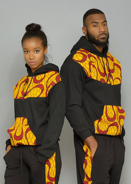 Tops - Folami Unisex African Print Hooded Sweatshirt (Yellow/Red Swirls)
