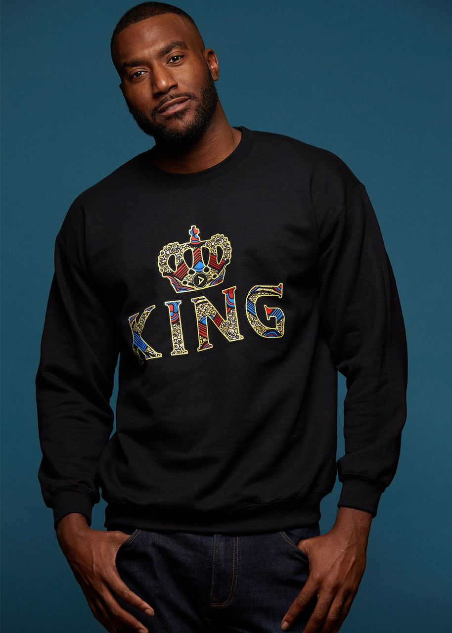 Tops - Kalu Men's King African Print Sweatshirt (Black)