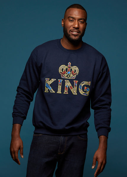 Tops - Kalu Men's King African Print Sweatshirt (Navy)