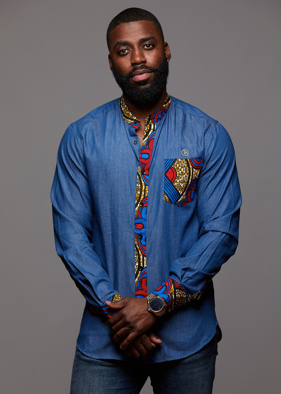 Tops - Kano Men's African Print Long Sleeve Denim Mandarin Shirt (Red Blue Tan)