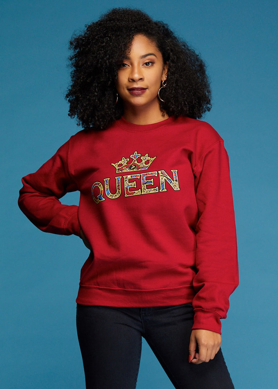Tops - Kayin Women's Queen African Print Graphic Sweatshirt (Maroon)