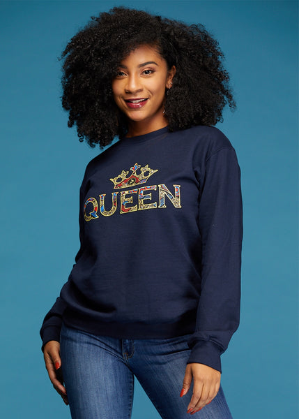 Tops - Kayin Women's Queen African Print Graphic Sweatshirt (Navy)