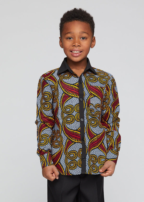 Tops - Kellan African Print Boys' Button-Up (Red Yellow Vines)